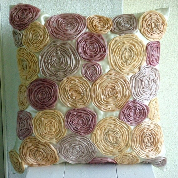 Vintage Dreams - Throw Pillow Covers - 16x16 Inches Satin Pillow Cover with Tissue Roses