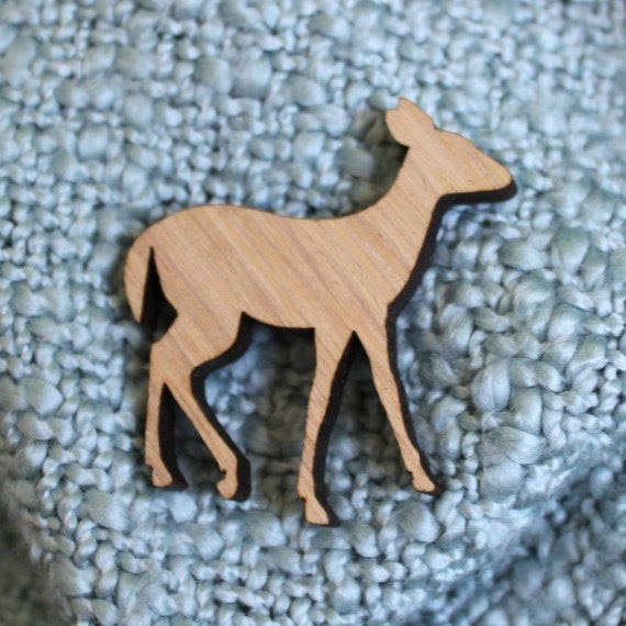 Woodland Deer Wood Brooch