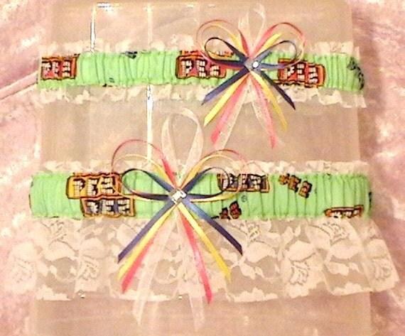 PEZ Candy Wedding Garter Set Blue Green Pink Yellow Rhinestone