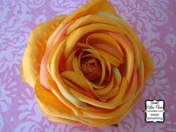 Большой цветок - мандарин оранжевый - Дамских, Измененные Couture, волос Цветы, Шелковый