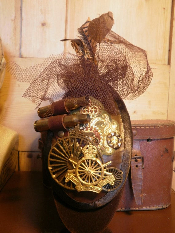Steampunk Army Cyclist Corps Fascinator with Rifle Shells.