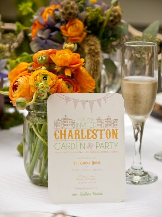 Charleston Garden Party Wedding Invitation