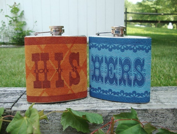 His and Hers Letterpress Flask Set