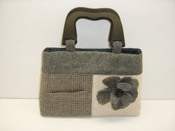 Clutch, With Flower, Recycled Suit Coat