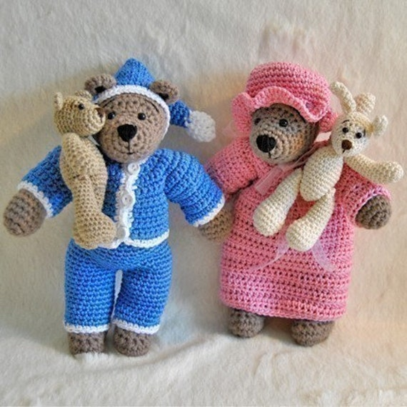 PDF Crochet Pattern - Tilda Bear, Pyjamas, Nightgown and little bear and bunny