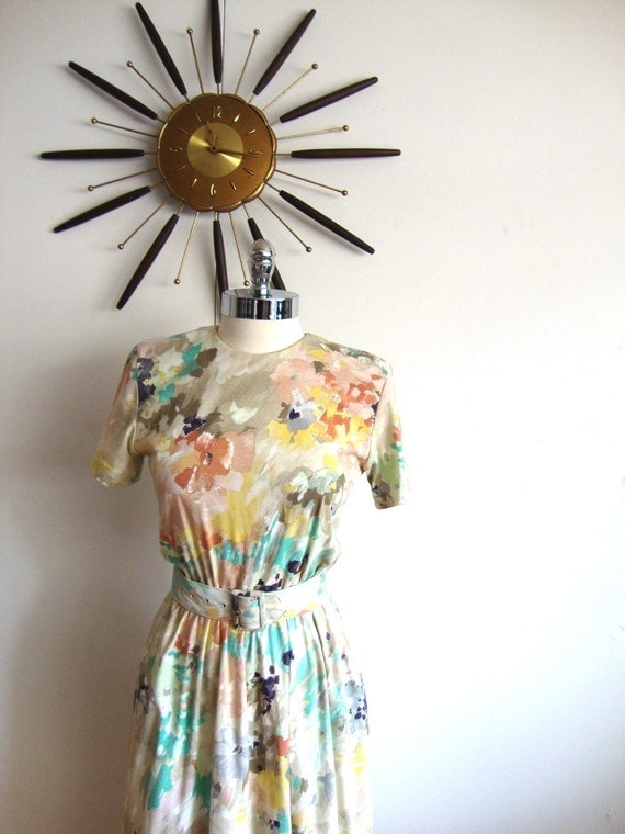1980 Vintage Clothing Abstract Flower Dress from Pudding