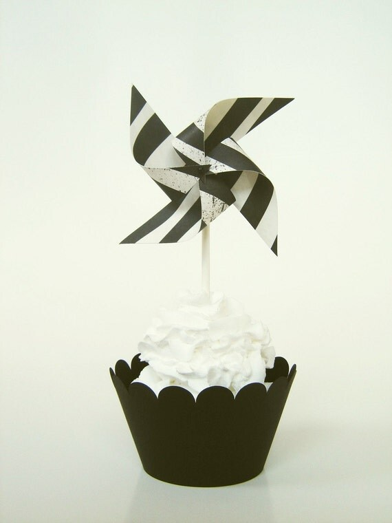 Hot Mama Zebra - Set of 12 Mini Twirlable Pinwheels