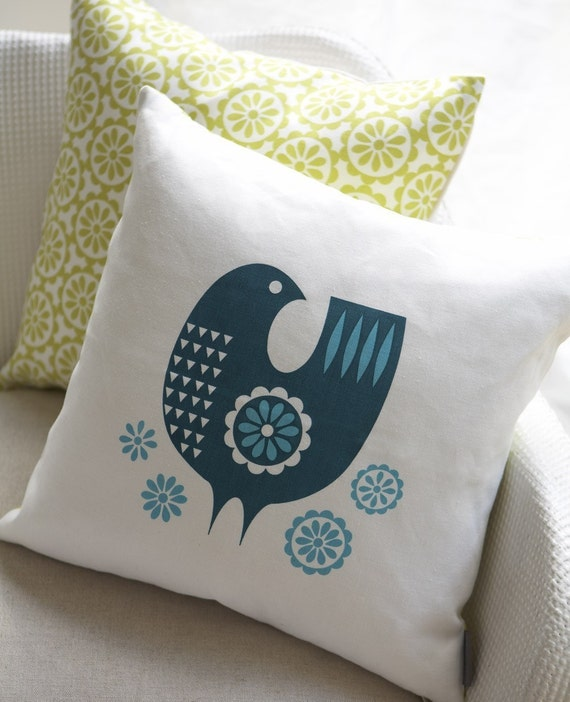Daisy bird cushion in teal on white linen