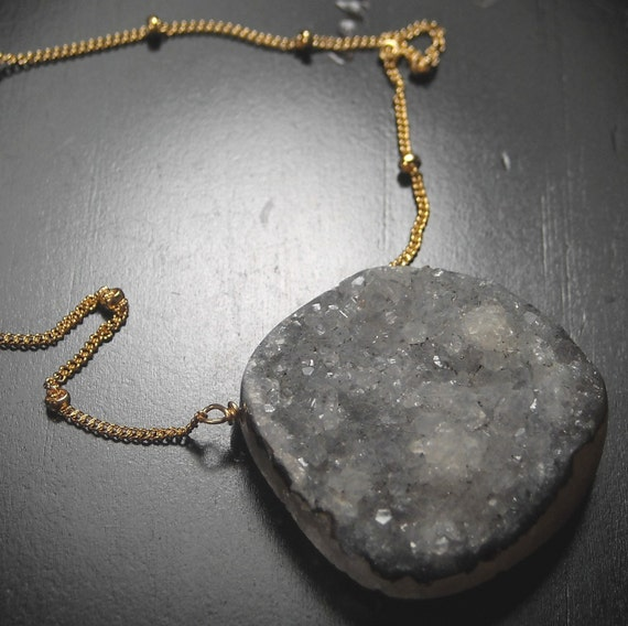 Earl Grey druzy necklace