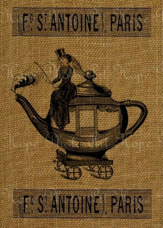 Teapot Carriage Fabric Image Transfer Collage - Burlap Feed Sacks Pillows Tea Towels greeting cards- U Print JPG 300dpi