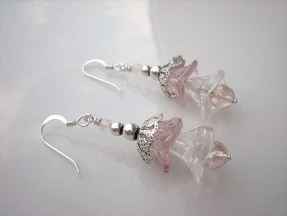 Pink Orchid Flower Earrings Sterling Silver