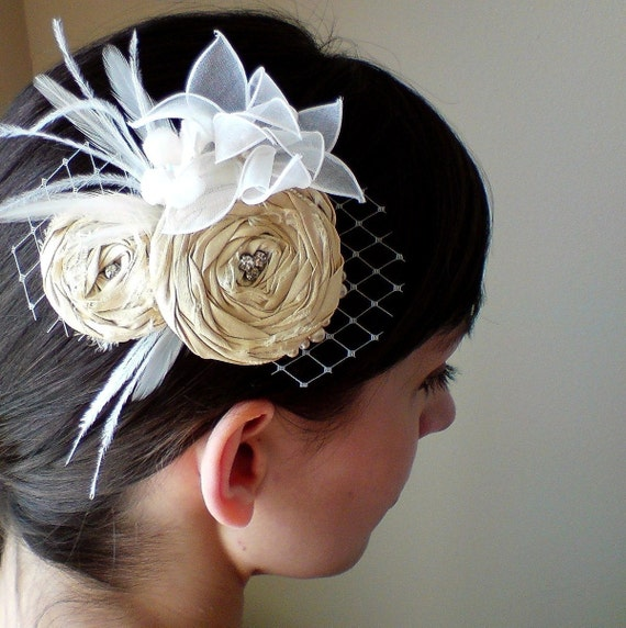 Sparkle As One with Peacock feathers, Rosette Bridal Hairpiece Fascinator, silk, rhinestones, couture millinery