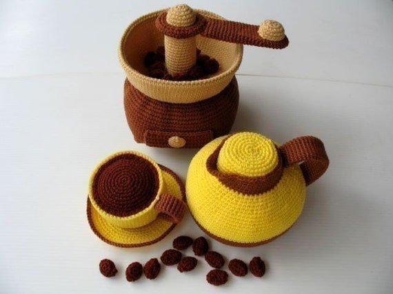 Crochet Pattern - COFFEE MAKER- Toys / Playfood - PDF