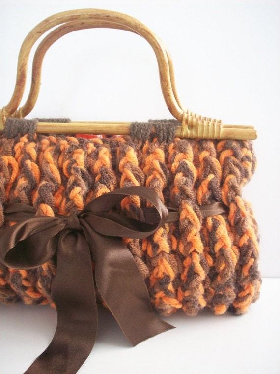 NzLbags -- نارنجی ، قهوه ای کیف دستی قلاب دوزی Nr - 093