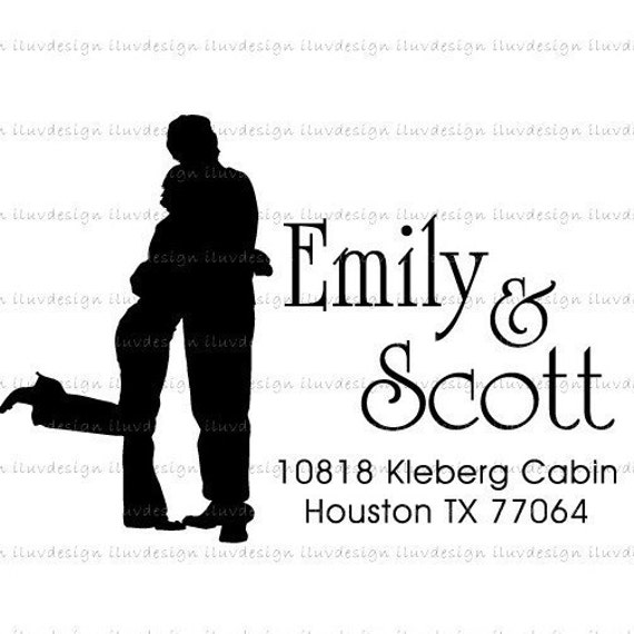 Couple HUGGING (Clear Rubber Stamp) - Return Address, Save The Date, Thank You, Merry Christmas, Weddings Or Personalize with your own texts. Item 1068