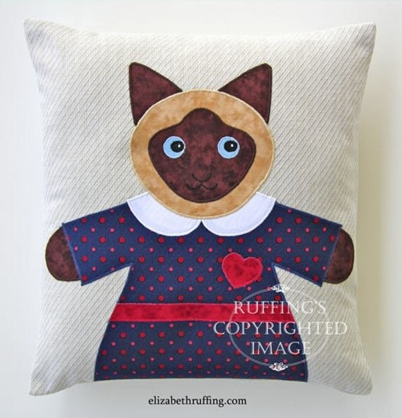 Siamese Hug Me Kitty Pillow by Elizabeth Ruffing, Oatmeal, Navy blue, Red, 13 x 14 inches, Ready-made