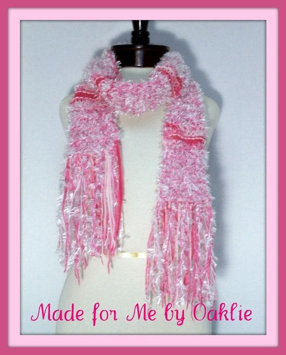 Handmade Knit Scarf - Pink Peppermint Fluff
