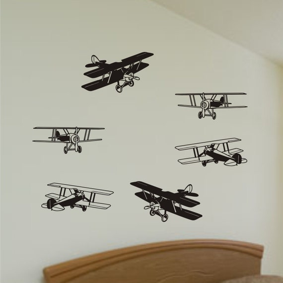Wall Decal Bi Planes in the sky Vinyl Wall Art Sticker graphics - ($22.5)