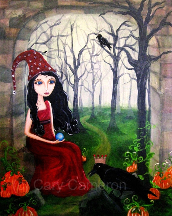 The Sorceress Halloween gothic fantasy fairy art print Cary Cameron