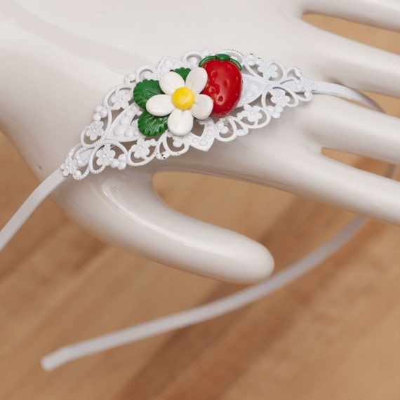 Roscata Filligree Strawberry Patch Headband - Handmade Polymer Clay Miniature Food Jewelry