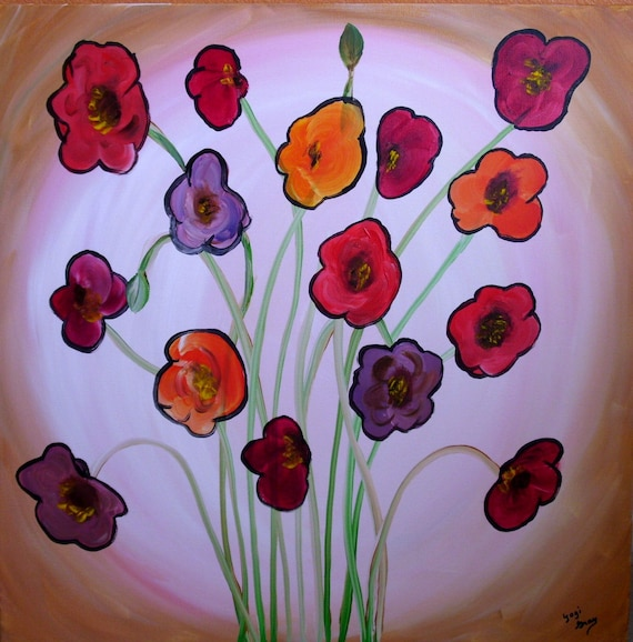 Plate of Poppies Original Painting on Canvas 24x24