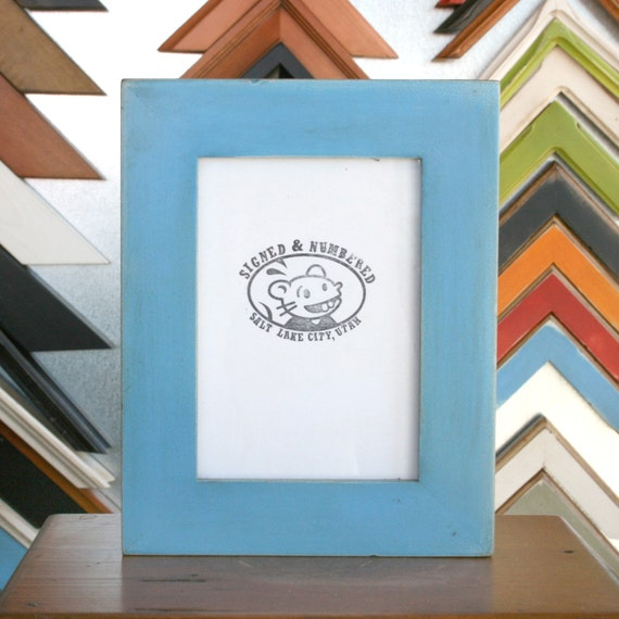5 X 7 Picture Frame With Vintage Blue Paint