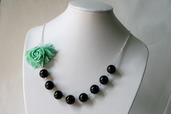 Daphne - Teal Black and Silver Asymetrical Necklace