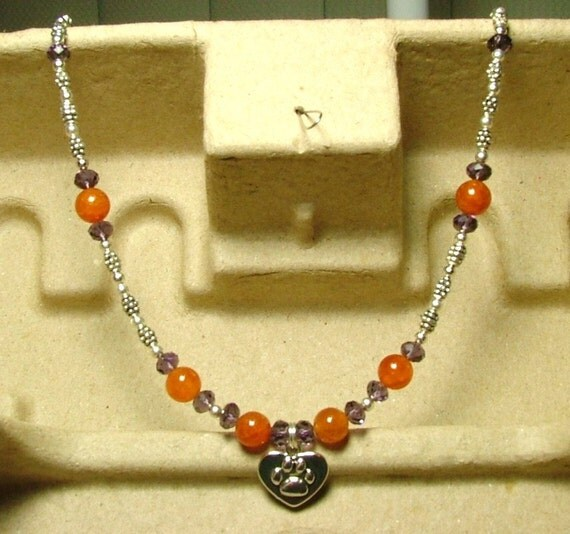 Clemson Tiger Necklace Fire Agate Purple Amethyst Crystal Silver Heart Tiger Paw Beaded