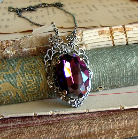 Amethyst Treasures - Purple Crystal Necklace in Silver and Gunmetal