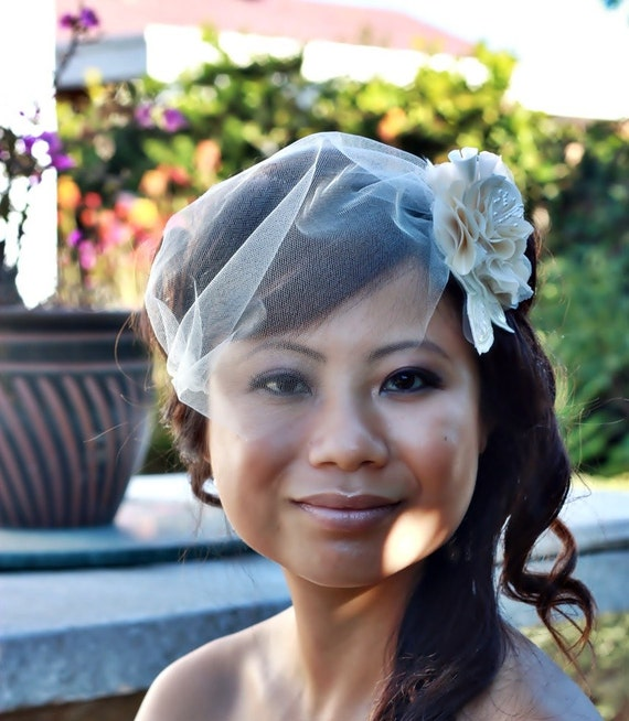 10 inch Bandeau Birdcage Veil- Bridal Illusion Tulle