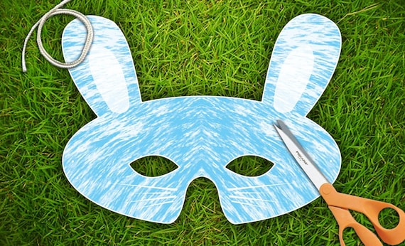 Blue Bunny Party Mask  Printable PDF by theRasilisk on Etsy from etsy.com