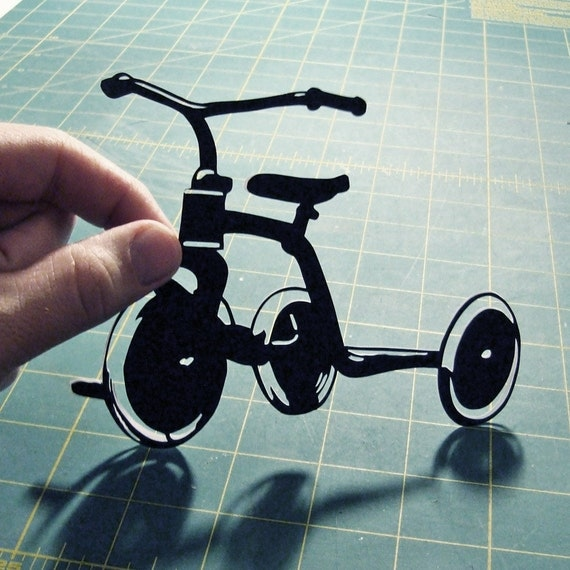 Tricycle Hand-Cut Paper Silhouette- 8x10