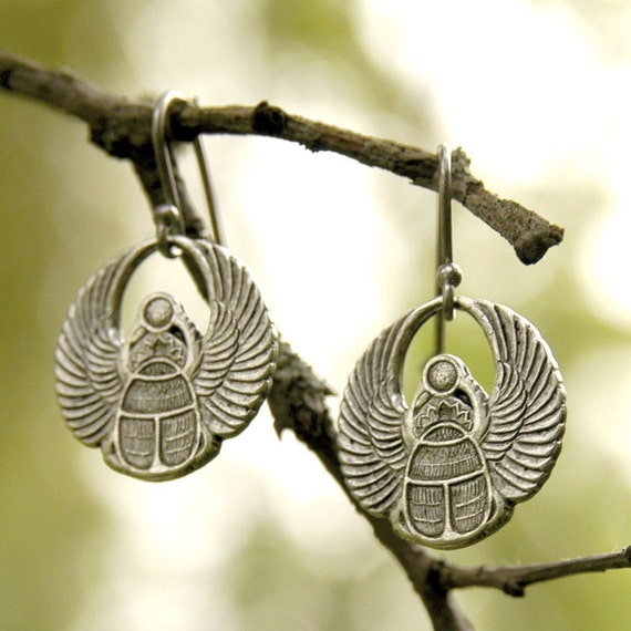 Silver Egyptian Scarab Earrings