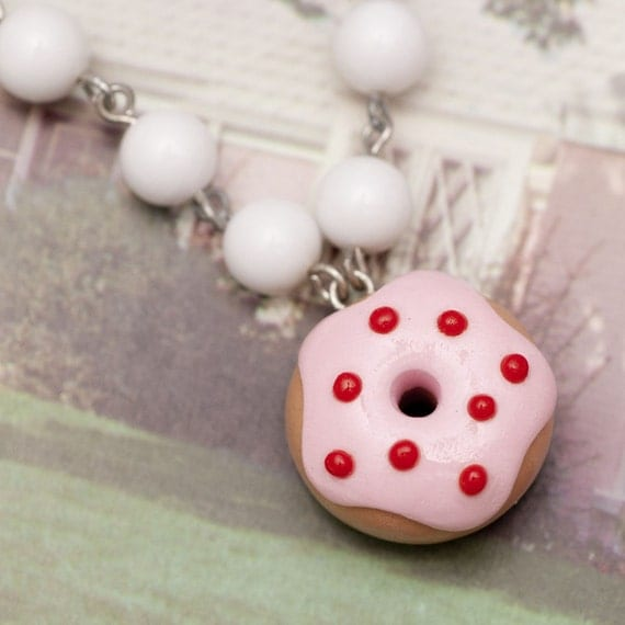 Rosata Pink Donut White Bead Choker Necklace - Handmade Polymer Clay Miniature Food Jewelry