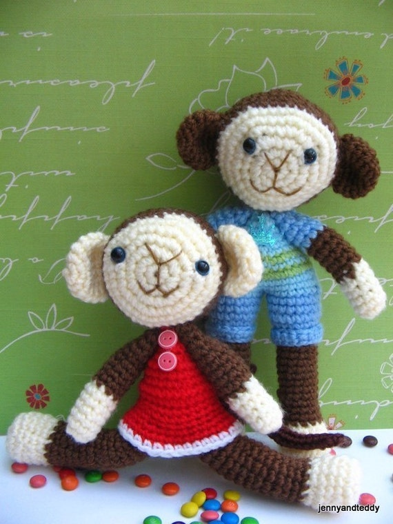 pdf  amigurumi crochet pattern monkey brother and sister ,welcome to sell the finished item