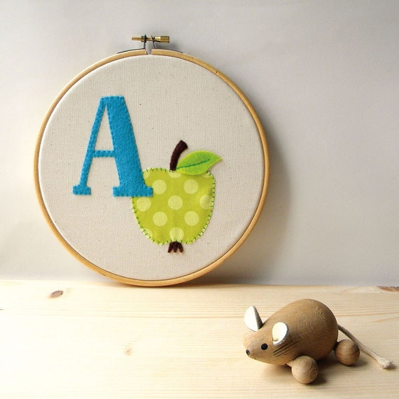 SALE - A as in apple - Wall Art - Handmade in Italy