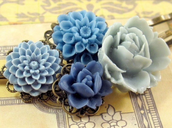 Texas Bluebell. Hair Pins