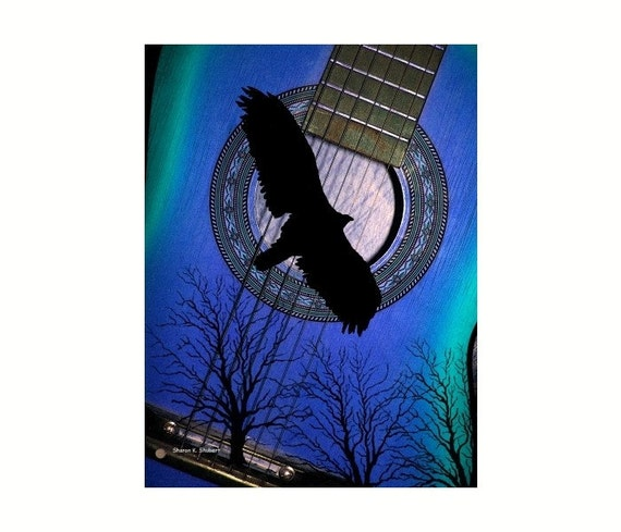Blue Guitar and Bird Silhouette Abstract Art 8 x 10 Giclee Print