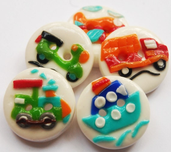 Mini vehicles - polymer clay handmade buttons
