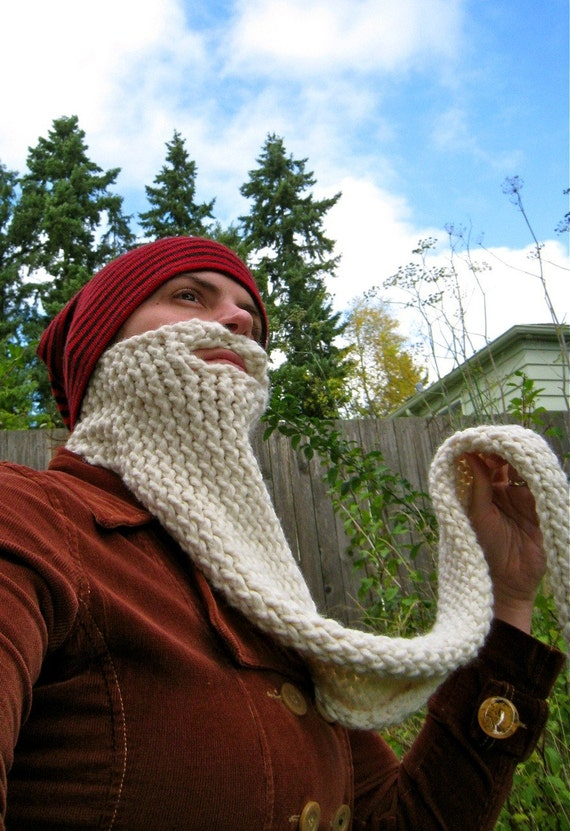 wizard knit beard - face neck warmer, costume, disguise, gandalf, dumbledore, harry potter, dickie, scarf