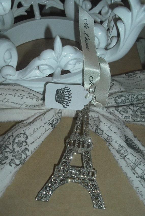 Серебряный сверкали Эйфелева башня / Кот атласная лента Je t'aime / Crown тегов