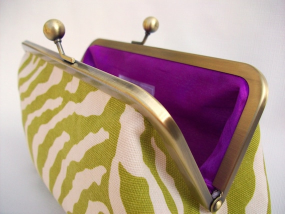 Green Zebra Print and Purple Clutch Purse