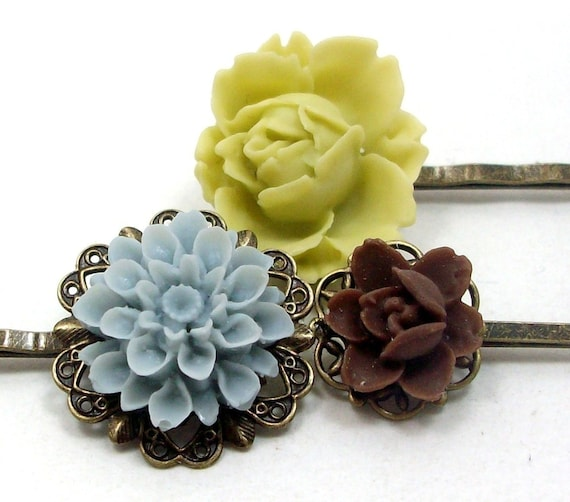 Flower Hair Pins Chartreuse Brown Blue . SHABBY CHIC