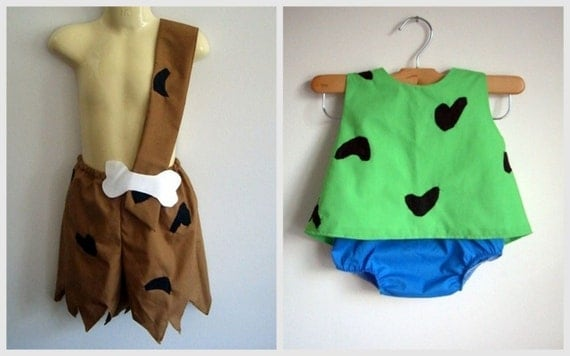 Pebbles and Bam Bam Costumes by RaeGun & SweeterThanSweets: Cutest (Handmade) Kidsu0027 Halloween Costumes on Etsy