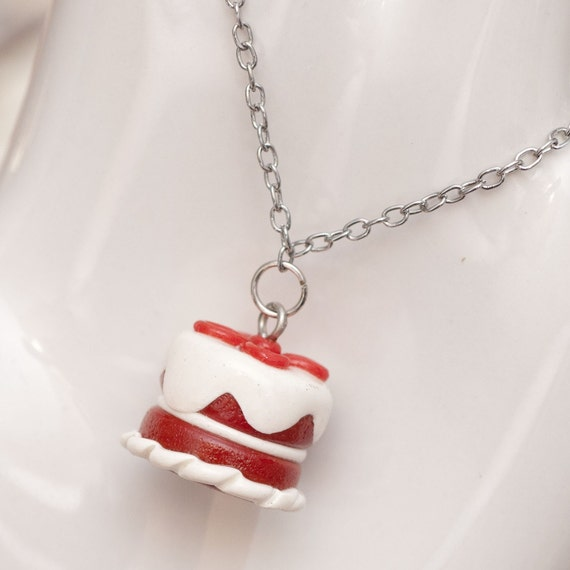 CLEARANCE SALE Roscata Red Velvet Cake Necklace Pendant Handmade Polymer Clay Food Miniature Art Jewelry