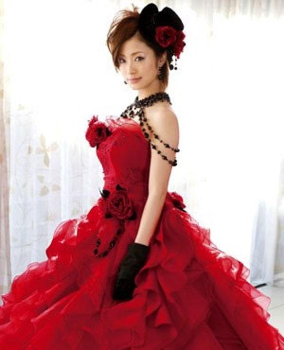 Red Gothic Wedding Dress CP221