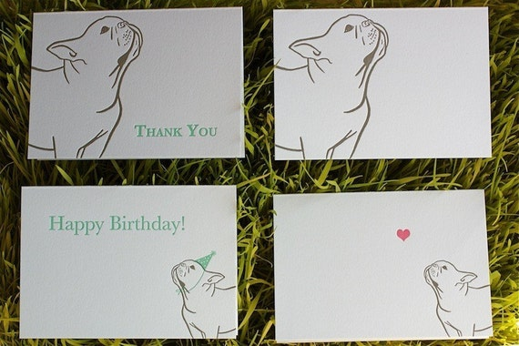 4 French Bulldog Cards