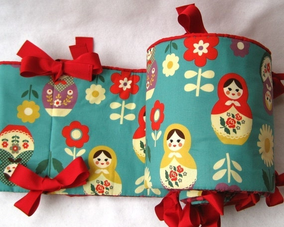 baby crib bumper pad in turquoise blue matryoshkas nesting dolls / all-natural luxury (last 4)