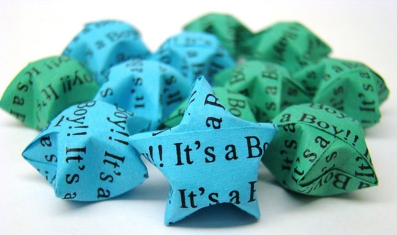 100 Origami Lucky Stars - Baby Shower - It's A Boy