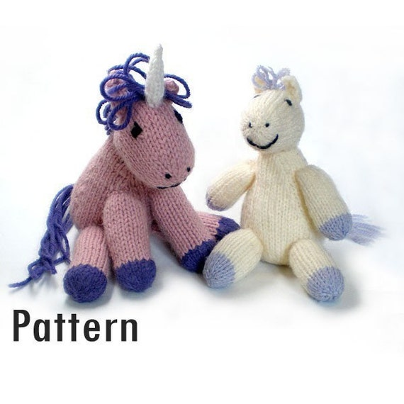 PDF Pattern - Tony the Lazy Pony and Hubert the Grumpy Unicorn - Knitting